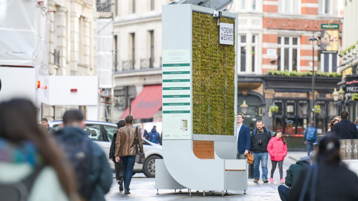Moss-covered CityTree bench designed to combat urban pollution